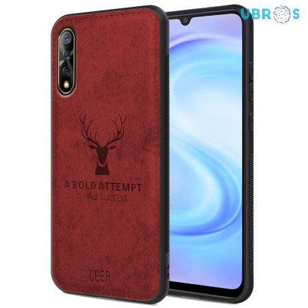 Vivo S1 Back Case Cover Soft Fabric Deer Series - Red