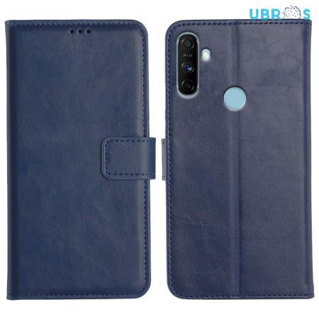 Realme Narzo 20A Magnetic Flip Cover Leather Finish Mobile Case - Blue