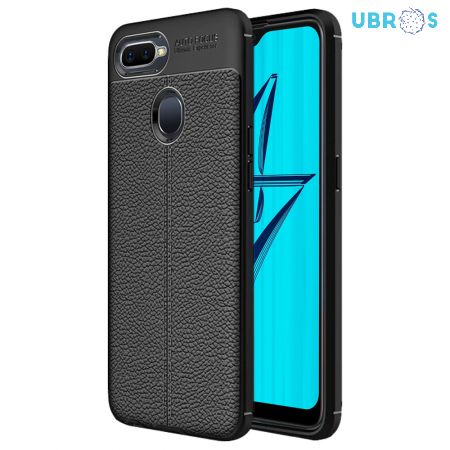 Black Leather Texture Stitch Oppo A7 Back Case Cover