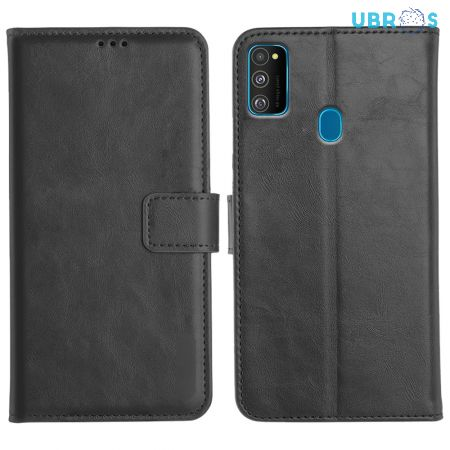 Samsung Galaxy M30s Magnetic Flip Cover Leather Finish Mobile Case - Black