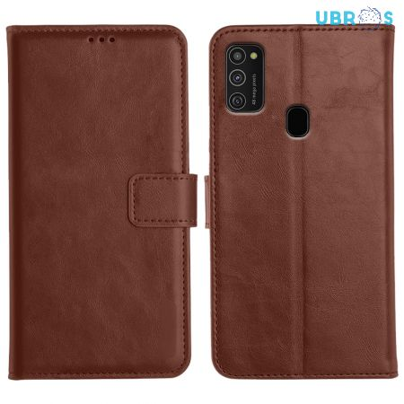 Samsung Galaxy M21 Magnetic Flip Cover Leather Finish Mobile Case - Brown