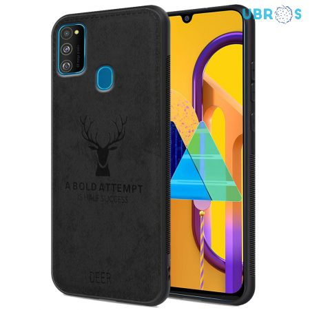 Samsung Galaxy M30S Back Case Cover Soft Fabric Deer Series - Black