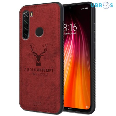 Redmi Note 8 Back Case Cover Soft Fabric Deer Series - Red