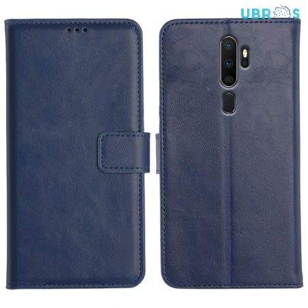 Oppo A5 2020 Magnetic Flip Cover Leather Finish Mobile Case - Blue