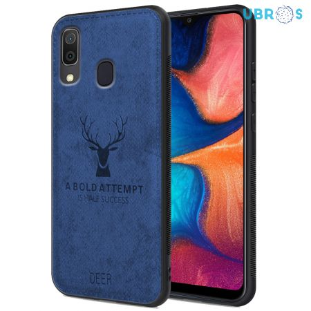 Samsung Galaxy A20 Back Case Cover Soft Fabric Deer Series - Blue