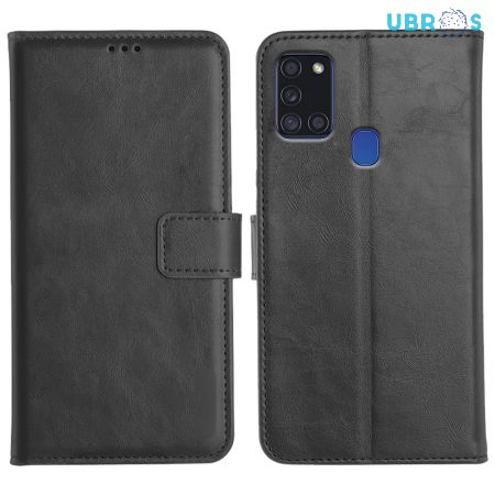 Samsung Galaxy A21S Magnetic Flip Cover Leather Finish Mobile Case - Black
