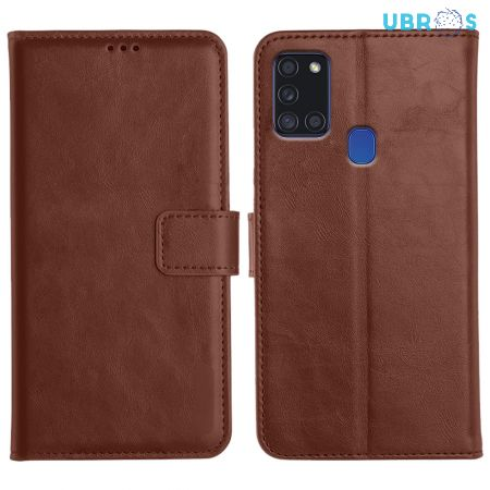 Samsung Galaxy A21S Magnetic Flip Cover Leather Finish Mobile Case - Brown