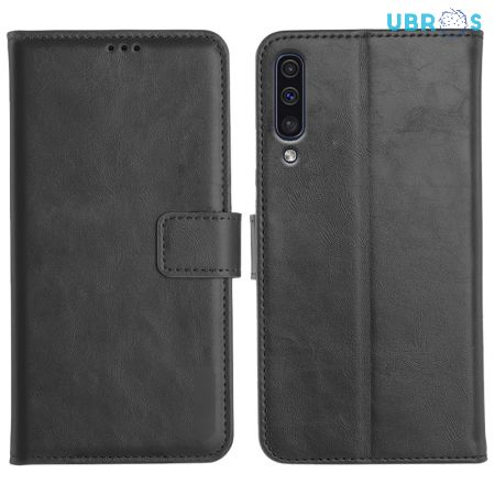 Samsung Galaxy A50 Magnetic Flip Cover Leather Finish Mobile Case
