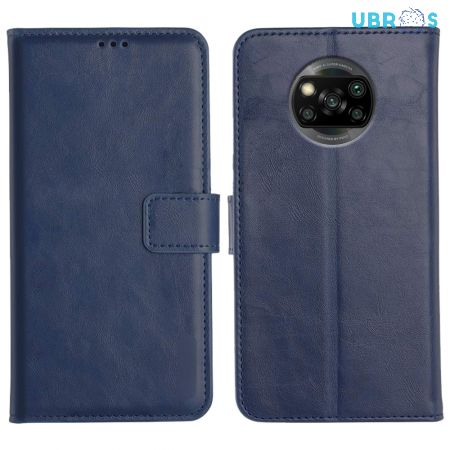 Poco X3 Magnetic Flip Cover Leather Finish Mobile Case - Blue