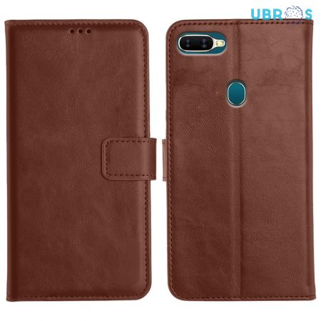 Oppo A5S Magnetic Flip Cover Leather Finish Mobile Case - Brown