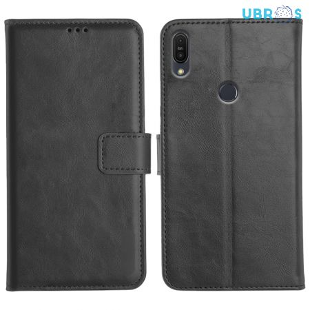 Asus Zenfone Max Pro M1 Magnetic Flip Cover Leather Finish Mobile Case - Black