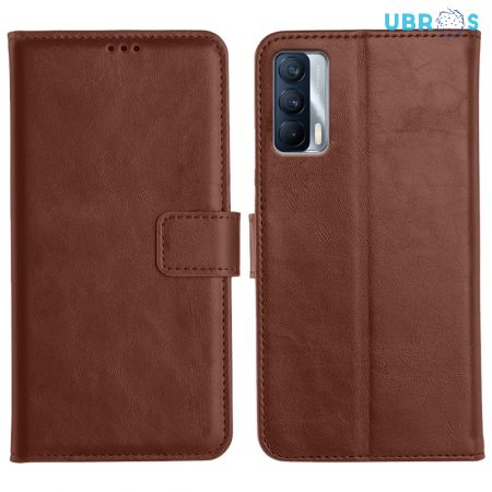 Realme X7 Magnetic Flip Cover Leather Finish Mobile Case - Brown