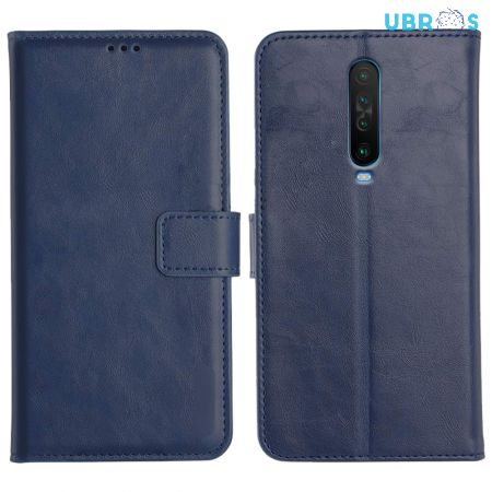 Poco X2 Magnetic Flip Cover Leather Finish Mobile Case - Blue