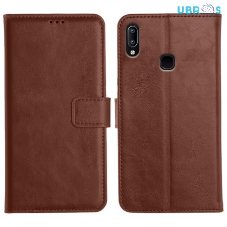 Vivo Y91 Magnetic Flip Cover Leather Finish Mobile Case - Brown
