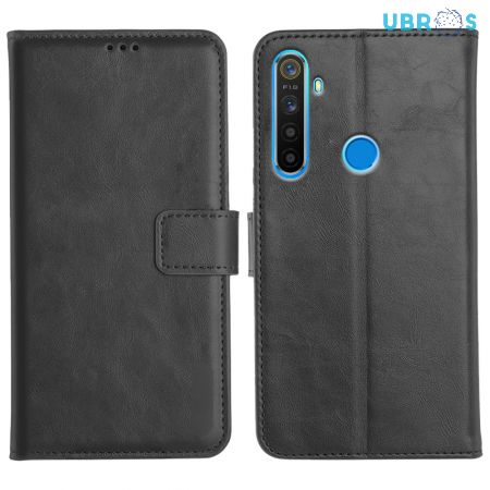 Realme 5 Magnetic Flip Cover Leather Finish Mobile Case