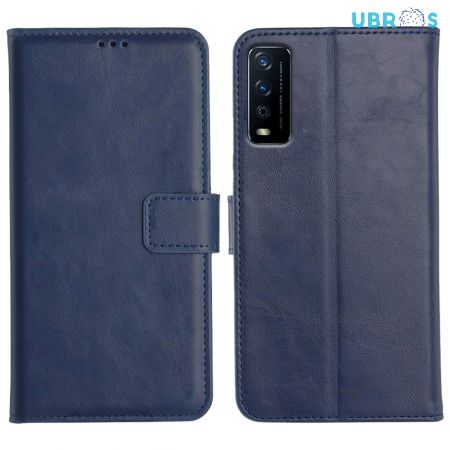 Vivo Y12S Magnetic Flip Cover Leather Finish Mobile Case - Blue