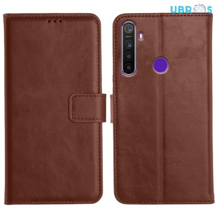 Realme 5s Magnetic Flip Cover Leather Finish Mobile Case - Brown