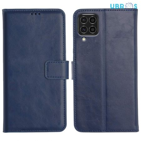 Samsung Galaxy F62 Magnetic Flip Cover Leather Finish Mobile Case - Blue