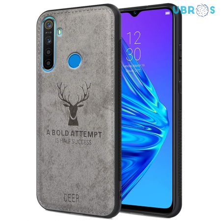 Realme 5 Back Case Cover Soft Fabric Deer Series - Grey