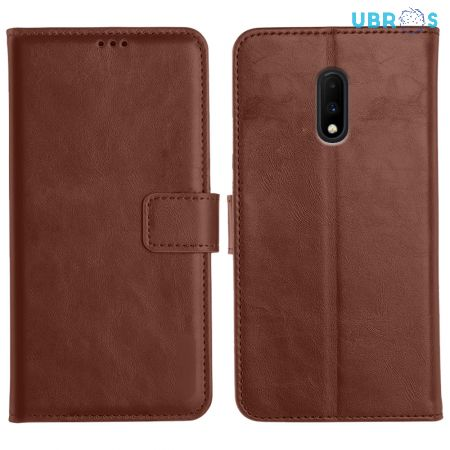 OnePlus 7 Magnetic Flip Cover Leather Finish Mobile Case - Brown