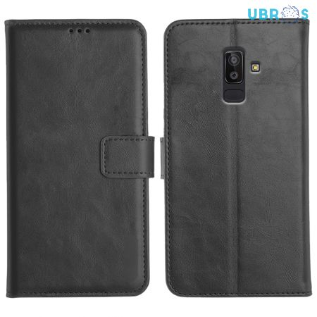 Samsung Galaxy J8 Magnetic Flip Cover Leather Finish Mobile Case - Black