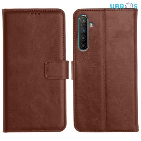 Realme XT Magnetic Flip Cover Leather Finish Mobile Case - Brown