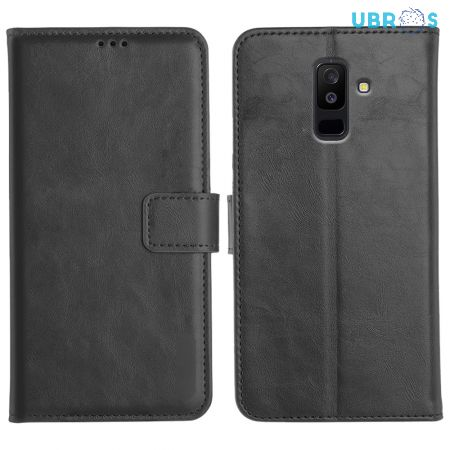 Samsung Galaxy A6 Plus Magnetic Flip Cover Leather Finish Mobile Case