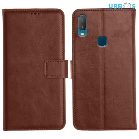 Vivo Y11 Magnetic Flip Cover Leather Finish Mobile Case - Brown