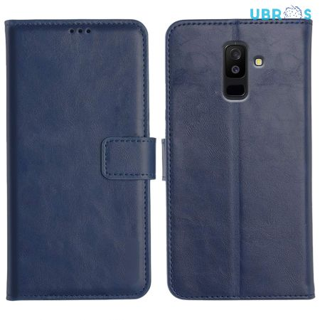 Samsung Galaxy A6 Plus Magnetic Flip Cover Leather Finish Mobile Case - Blue