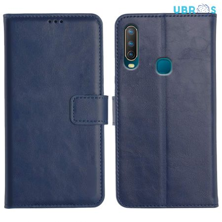 Vivo U10 Magnetic Flip Cover Leather Finish Mobile Case - Blue