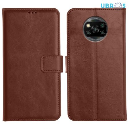 Poco X3 Magnetic Flip Cover Leather Finish Mobile Case - Brown