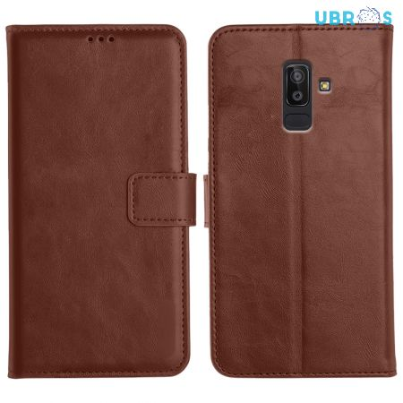 Samsung Galaxy J8 Magnetic Flip Cover Leather Finish Mobile Case - Brown