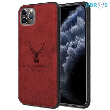 iPhone 11 Pro Back Case Cover Soft Fabric Deer Series - Red