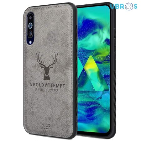Samsung Galaxy M40 Back Case Cover Soft Fabric Deer Series - Grey