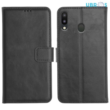Samsung Galaxy M20 Magnetic Flip Cover Leather Finish Mobile Case - Black