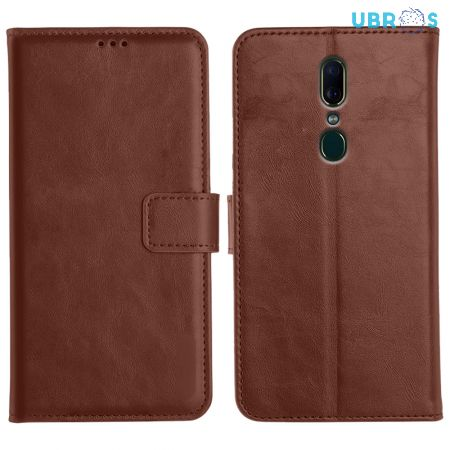 Oppo F11 Magnetic Flip Cover Leather Finish Mobile Case - Brown