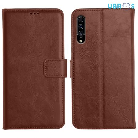 Samsung Galaxy A30S Magnetic Flip Cover Leather Finish Mobile Case - Brown
