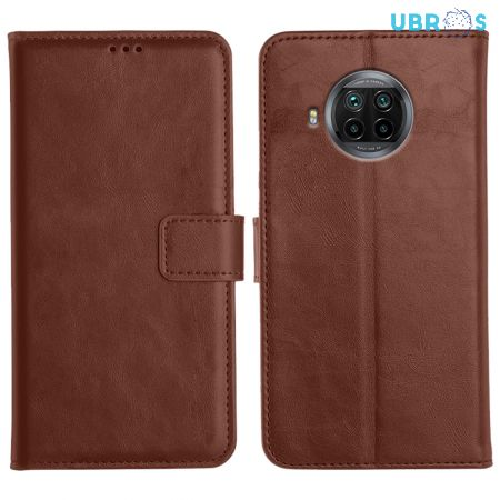 Xiaomi Mi 10i Magnetic Flip Cover Leather Finish Mobile Case - Brown