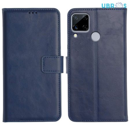 Realme C15 Magnetic Flip Cover Leather Finish Mobile Case - Blue