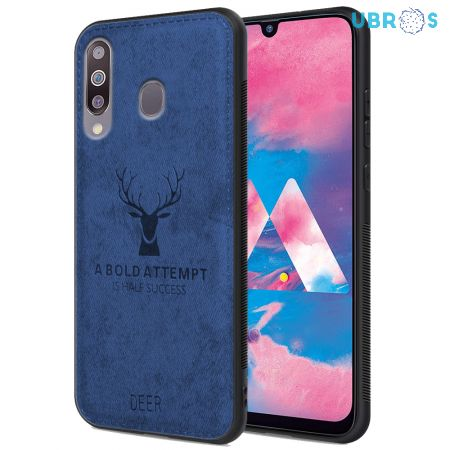 Samsung Galaxy M30 Back Case Cover Soft Fabric Deer Series - Blue