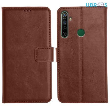 Realme 5i Magnetic Flip Cover Leather Finish Mobile Case - Brown