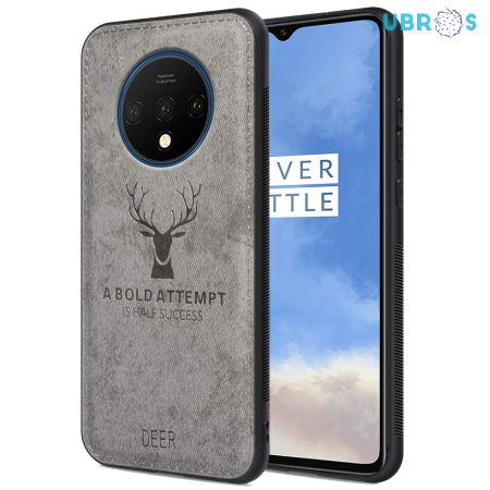 OnePlus 7T Back Case Cover Soft Fabric Deer Series - Grey
