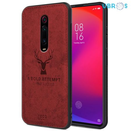 Redmi K20 Back Case Cover Soft Fabric Deer Series - Red
