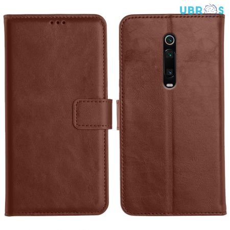 Redmi K20 Pro Magnetic Flip Cover Leather Finish Mobile Case - Brown