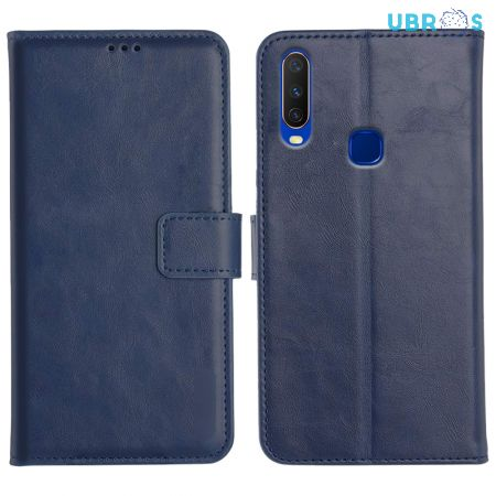 Vivo Y17 Magnetic Flip Cover Leather Finish Mobile Case - Blue