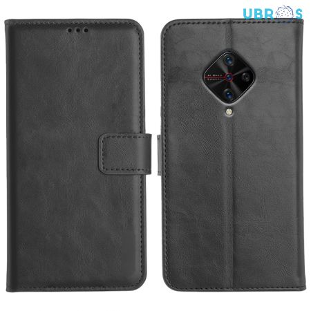 Vivo S1 Pro Magnetic Flip Cover Leather Finish Mobile Case - Black