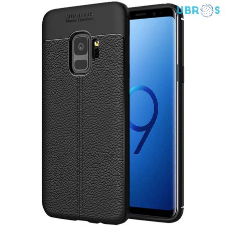 Black Leather Texture Stitch Samsung S9 Back Case Cover