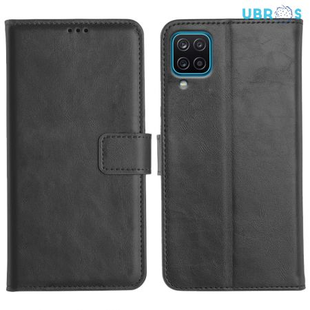 Samsung Galaxy A12 Magnetic Flip Cover Leather Finish Mobile Case - Black