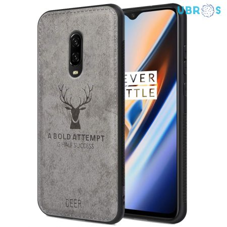 OnePlus 6T Back Case Cover Soft Fabric Deer Series - Grey