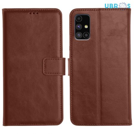 Samsung Galaxy M51 Magnetic Flip Cover Leather Finish Mobile Case - Brown